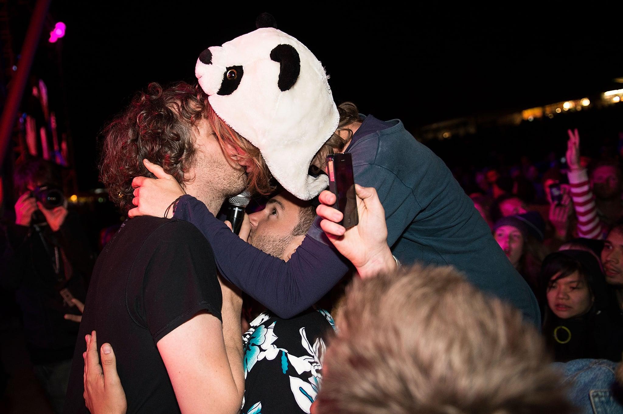 ChkChkChk got a kiss from a fan at Falls Festival in Lorne, Australia.