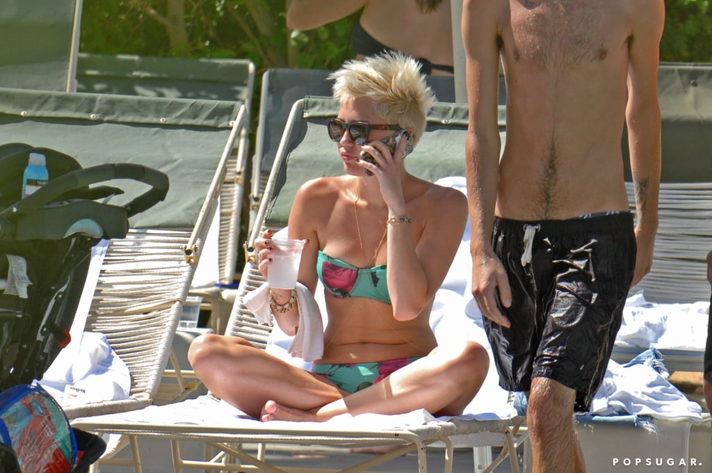 Miley Cyrus covered up her new tattoo with a white towel.