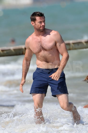 Hugh Jackman goes for a swim.