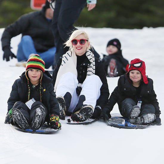 Gwen Stefani Sledding With Kingston and Zuma