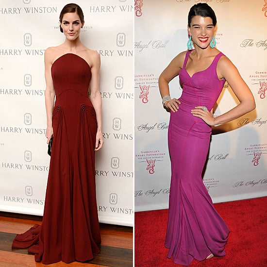 Hilary Rhoda and Crystal Renn Wearing Zac Posen