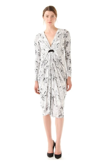 Elegant draping and a V-neckline make this Willow Draped Print Dress ($360) a flattering, of-the-moment pick.