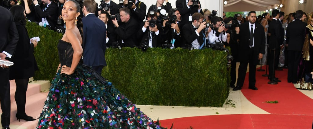 Zoe Saldana's Train Just Went Peacocking Across the Met Gala Red Carpet