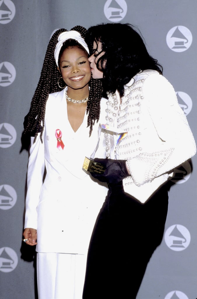 Michael Jackson planted a sweet kiss on his sister Janet Jackson at the 1993 Grammys.