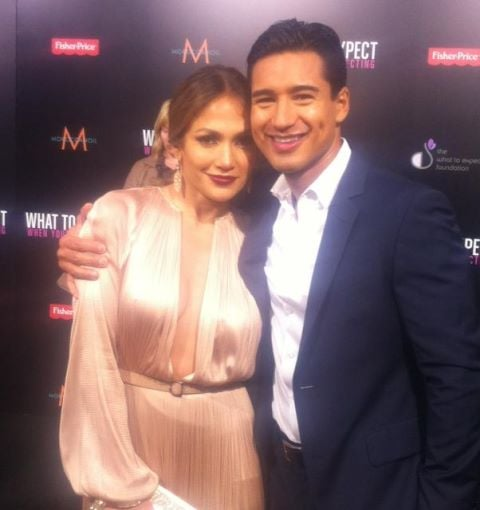 Mario Lopez posed with Jennifer Lopez at the premiere of What to Expect When You're Expecting.  Source: Twitter user MarioLopezExtra