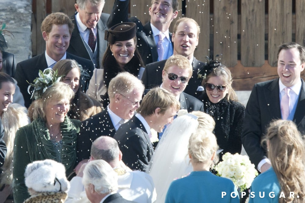Prince Harry, Kate Middleton, and Prince William watched the rice fly during a Swiss wedding ceremony in March 2013.