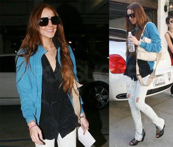Photos of Lindsay Lohan and Ali Lohan at a Studio in Burbank