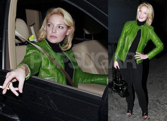 Photos of Katherine Heigl Smoking and Wearing a Green Jacket