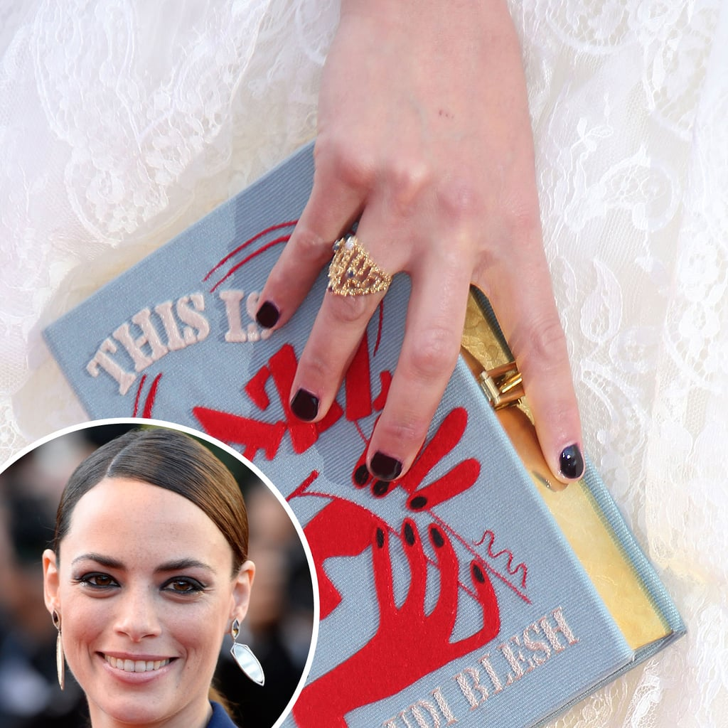 At the premiere of The Past, French actress Bérénice Bejo wore a deep aubergine polish that contrasted with her white dress and quirky clutch.