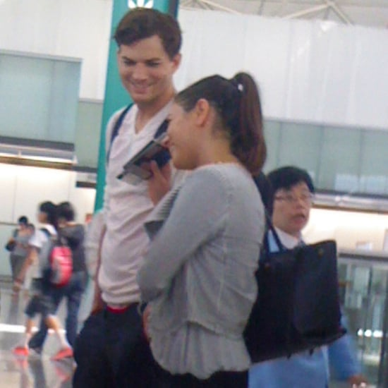 Ashton Kutcher and Mila Kunis Hugging at the Airport