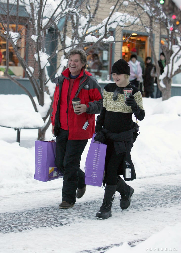 Kate Hudson and Kurt Russell spent their 2007 snow day shopping in Aspen.