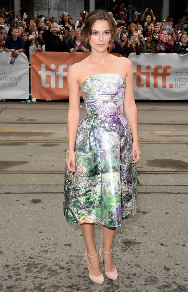 Keira Knightley wore a printed dress and heels for the premiere of Can a Song Save Your Life? on Saturday.