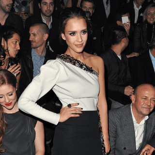 Jessica Alba and Mila Kunis at Paris Fashion Week