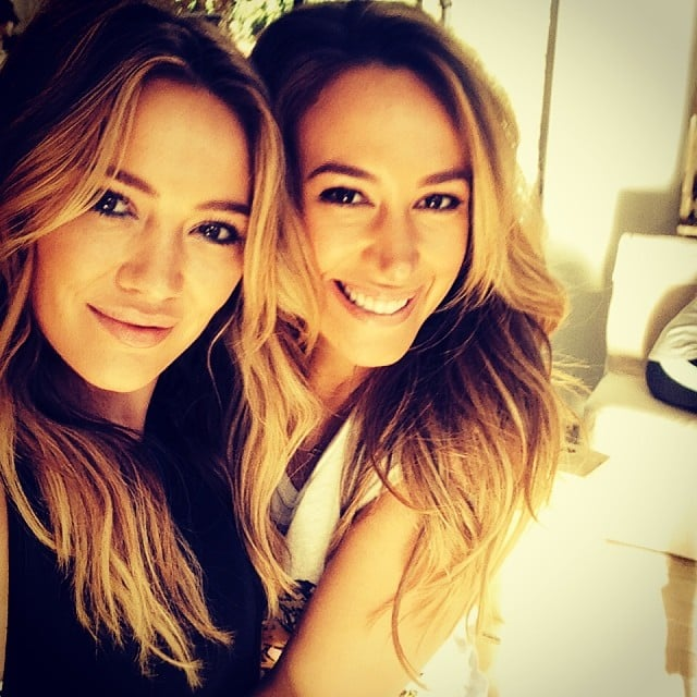 Sisters Hilary and Haylie Duff took this adorable snap while filming a video for Haylie's Real Girls Kitchen blog. Source: Instagram user hilaryduff
