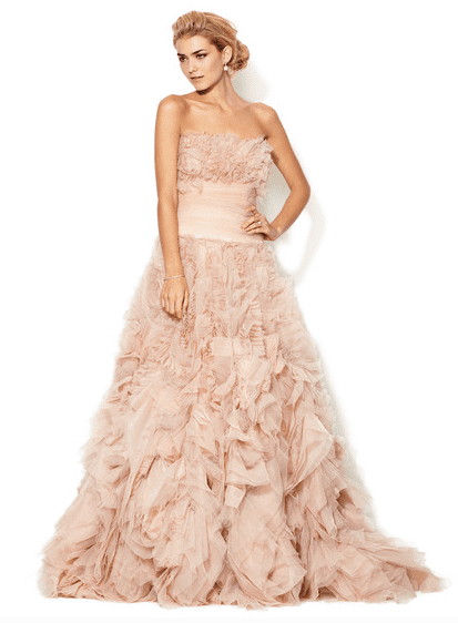 A pink Marchesa Couture strapless rosette gown ($4,999, originally $12,995) for the nontraditional bride.
