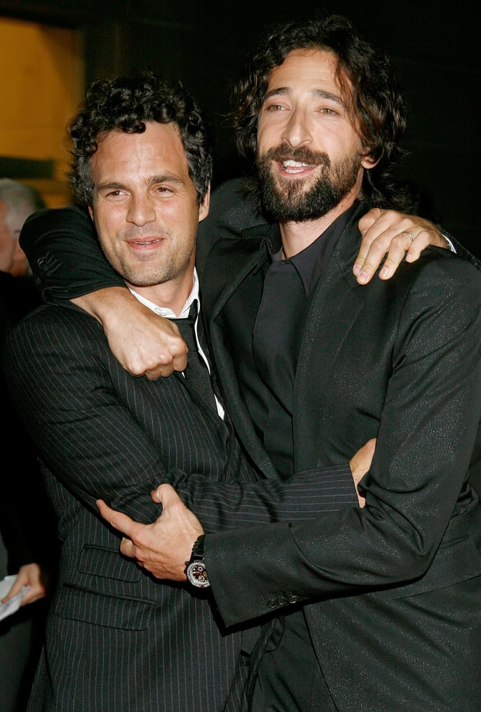 Mark Ruffalo and Adrien Brody shared a hug prior to their 2008 debut of  The Brothers Bloom.