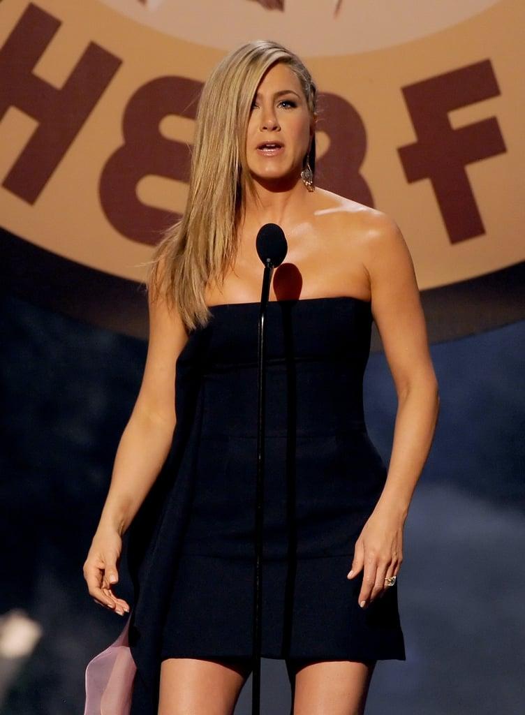 Jennifer Aniston spoke on stage.