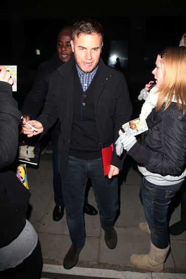 Pictures of Gary Barlow at Radio 2 Studios to Cohost Breakfast Show with Chris Evans