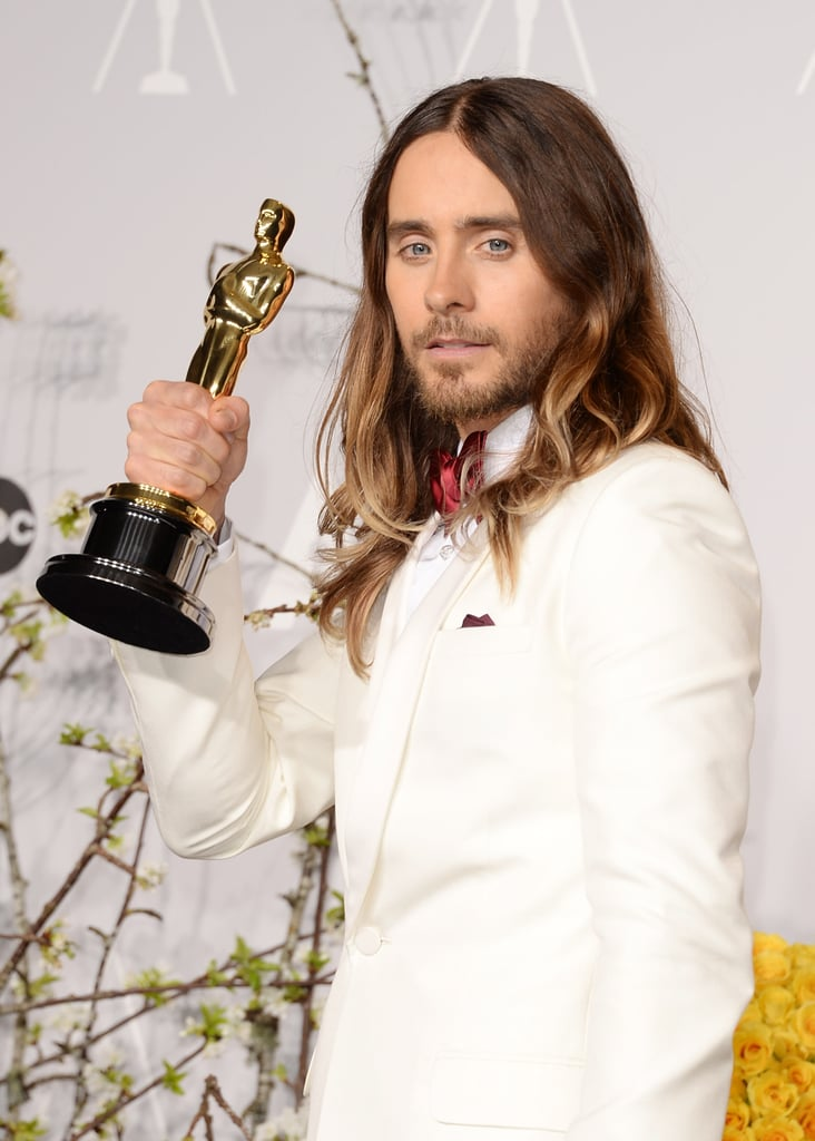 Jared Leto smiled after his best supporting actor win for Dallas Buyers Club.