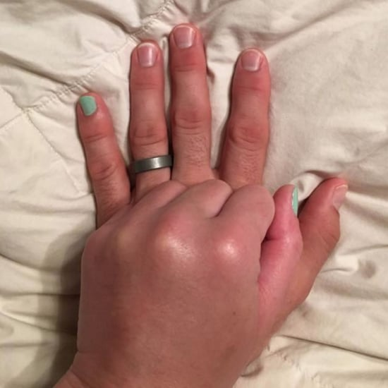 Husband Paints Pinky Nail For Wife