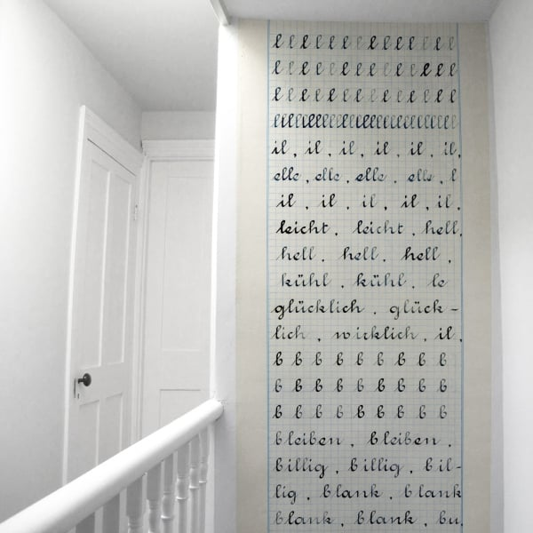 """Wallpaper """"Cahier d'ecriture"""" by Madame Chalet ($153/roll)"""