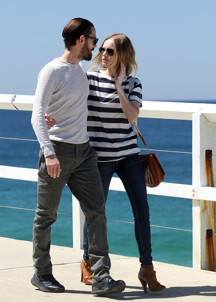 Kate Bosworth took a stroll around Bondi with her fiancé Michael Polish on October 11.