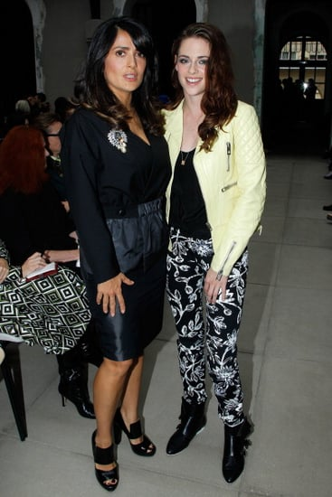 Kristen Stewart and Salma Hayek attended the Balenciaga show.