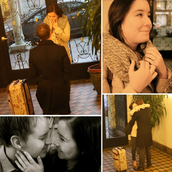 My fiancé had a perfectly personal and low-key proposal planned that caught me completely off guard. It took place in my apartment lobby and was captured by a dear friend who was also one of my bridesmaids. Photos by Lisa Pearce
