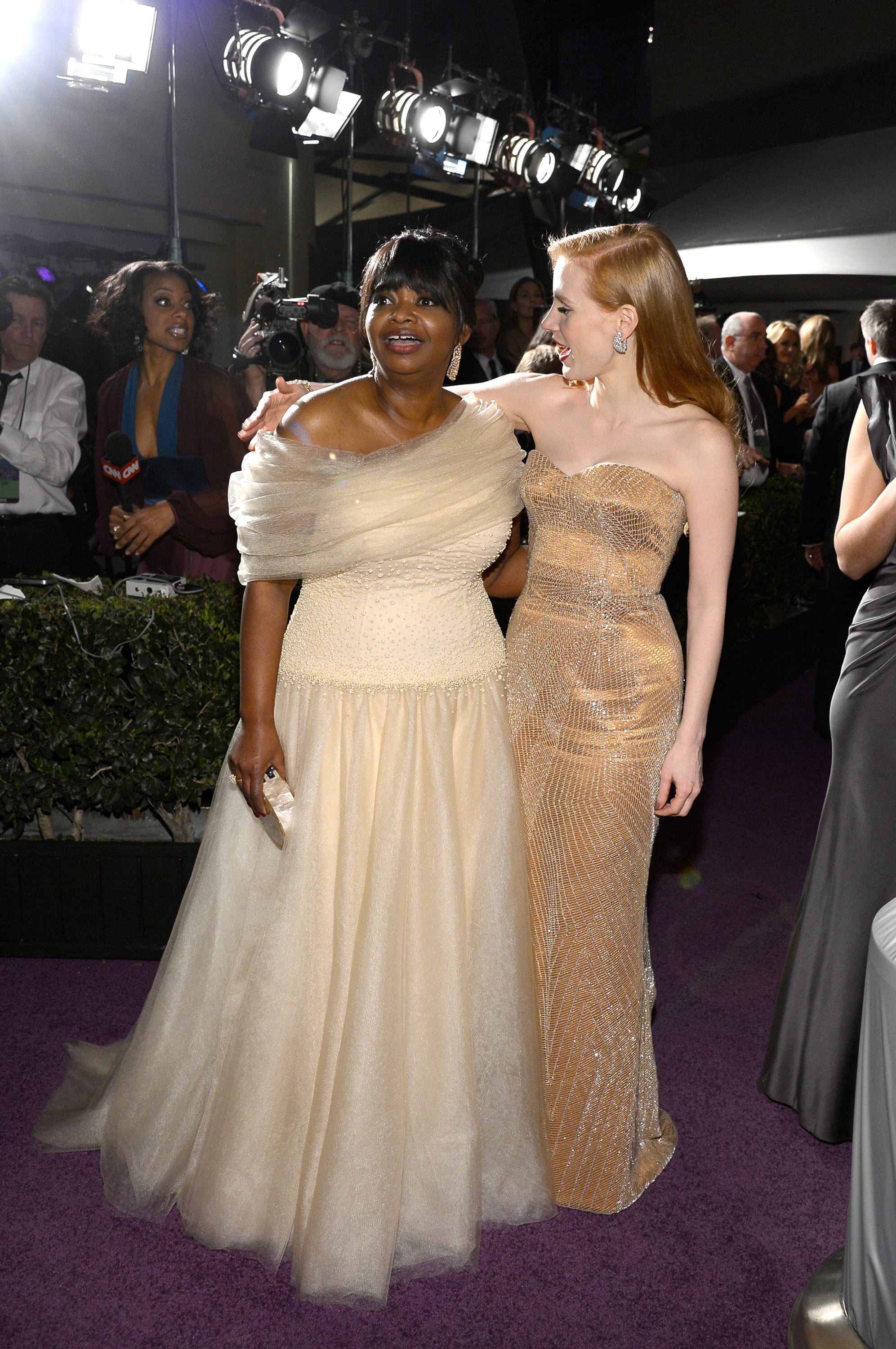 Jessica Chastain had her arm around Octavia Spencer at the Governors Ball.