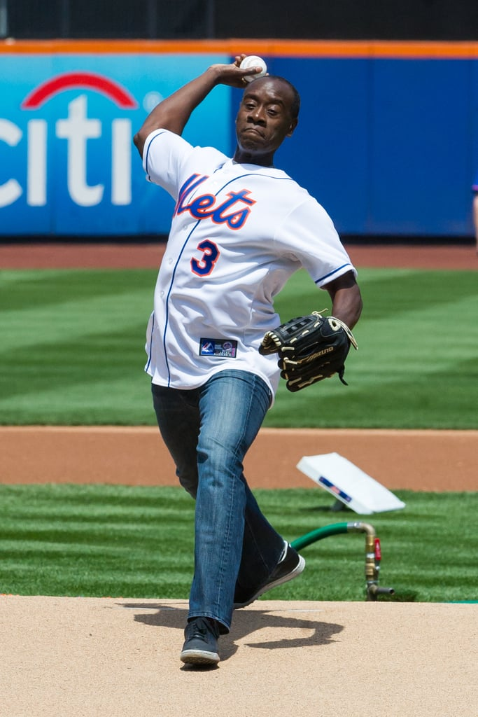 In April 2013, Don Cheadle threw the premiere pitch at the New York Mets game.