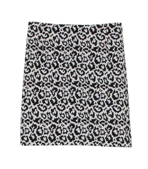 Tibi Black and White Leopard Print Skirt