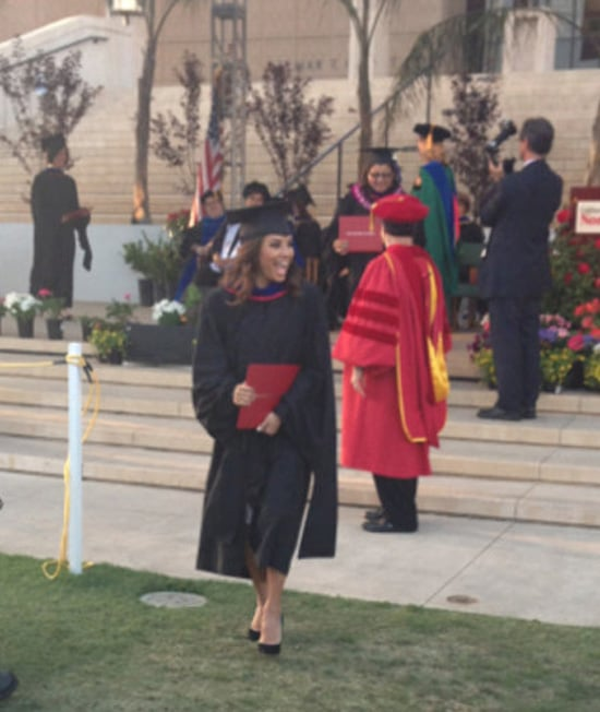 Eva Longoria walked off the stage with her master's diploma. Source: WhoSay user EvaLongoria