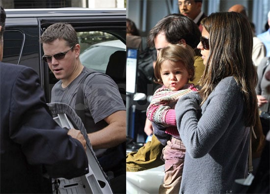 Matt Damon Braves Airport Security With His Girls