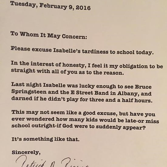 Dad Writes Bruce Springsteen School Excuse Note