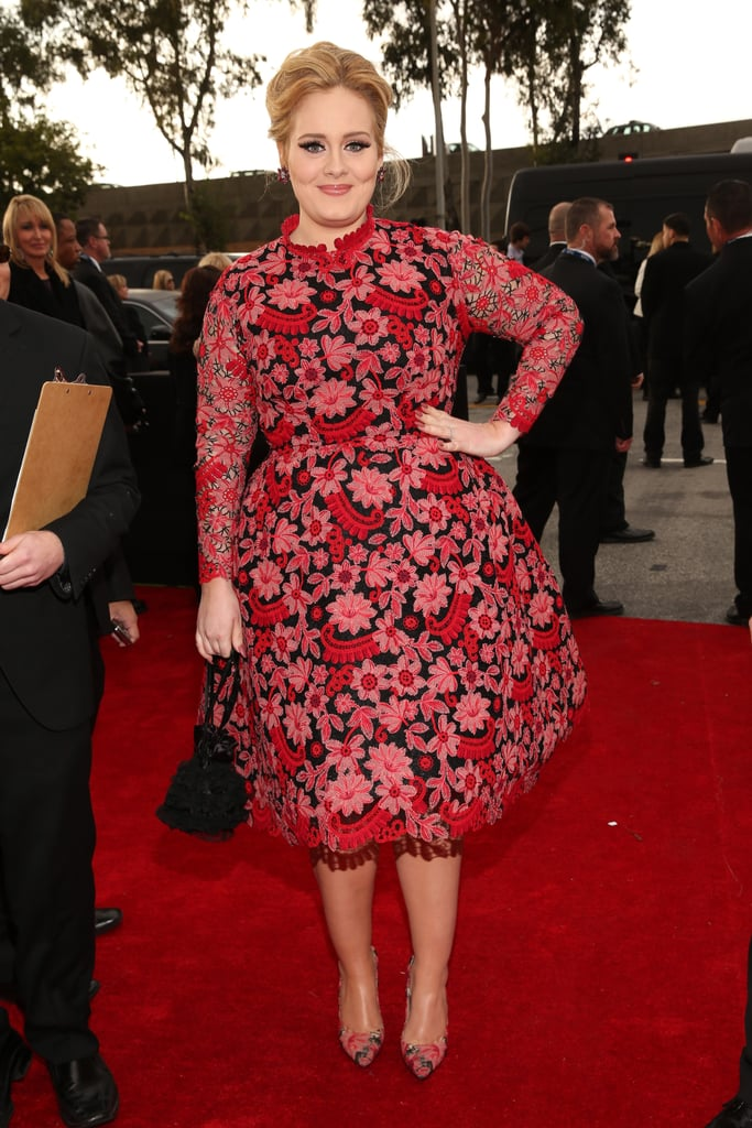 Adele wore a floral Valentino dress to the Grammys.