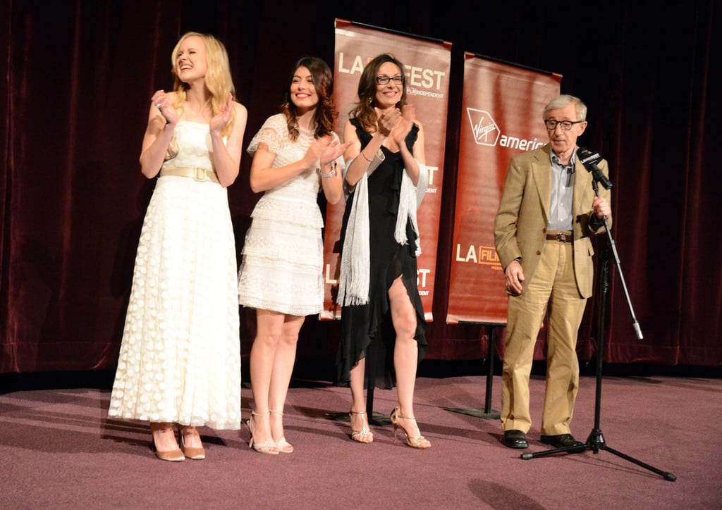 Greta Gerwig, Alison Pill, Alessandra Mastronardi, Simona Caparrini, and Woody Allen got together on stage at the LA premiere of To Rome With Love.