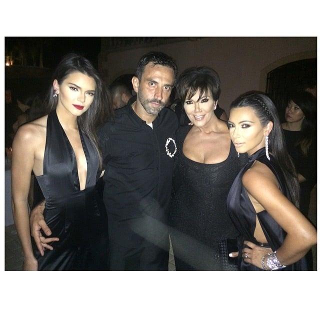 Kendall, Kris, and Kim stunned in black next to Riccardo. Source: Instagram user kimkardashian
