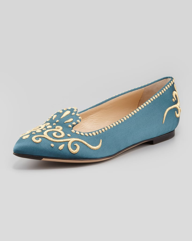 Charlotte Olympia's embroidered satin flats ($725) are fit for a modern-day Marie Antoinette.