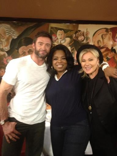 Hugh Jackman and his wife, Deborra-Lee Furness, posed with Oprah Winfrey after an OWN TV interview. Source: Twitter user RealHughJackman