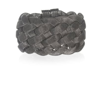 We love the moody, textural intrigue on this Kenneth Jay Lane Braided Gunmetal Mesh Bracelet ($75), a perfect pairing against a cashmere burgundy sweater.