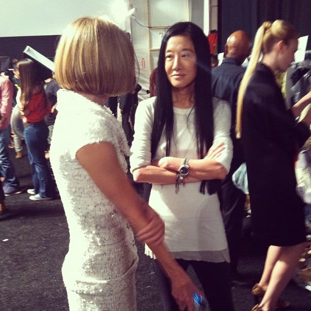 """Stacy Keibler captured a """"true fashion moment"""" with Anna Wintour and Vera Wang backstage. Source: Instagram user stacykeibler"""
