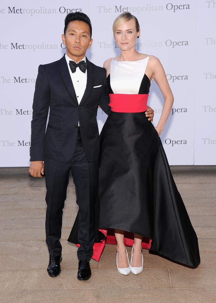 At Lincoln Center, Prabal Gurung dressed his date for the evening, Diane Kruger, in a striking colorblock design.