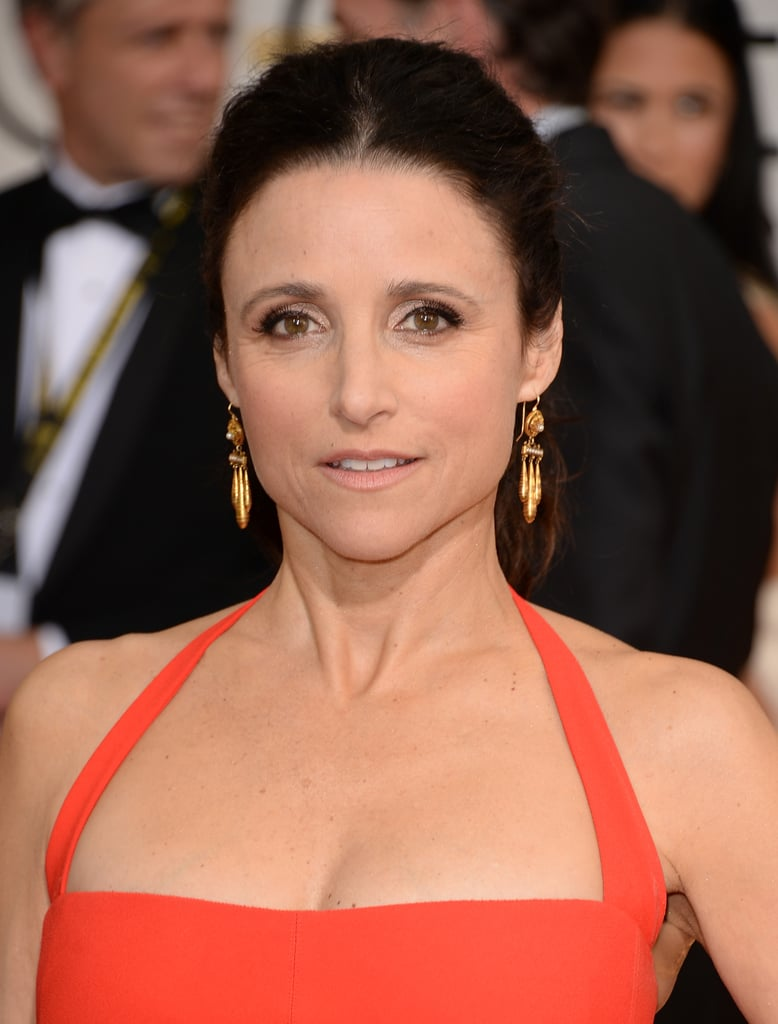 Glistening champagne-colored shadow and a trendy middle part for Julia Louis-Dreyfus.