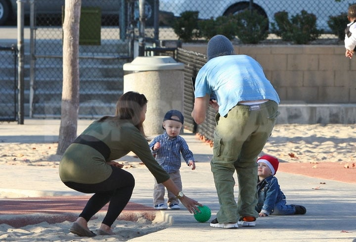 Owen Wilson and Jade Duell watched their son, Robert, in an LA park.