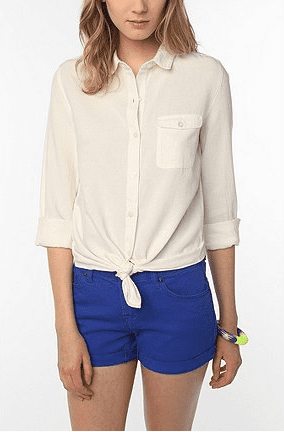 A simple white button-down does the trick every time. Bring this along to tie at the waist with a maxi skirt or throw on over a tank when it gets chilly.  BDG Oxford Boyfriend Shirt ($39)