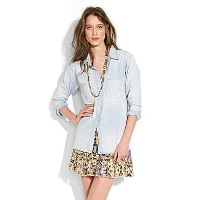 A quintessential layer from now till Fall.   Madewell Perfect Chambray Shirt in Ferrous Wash ($68)