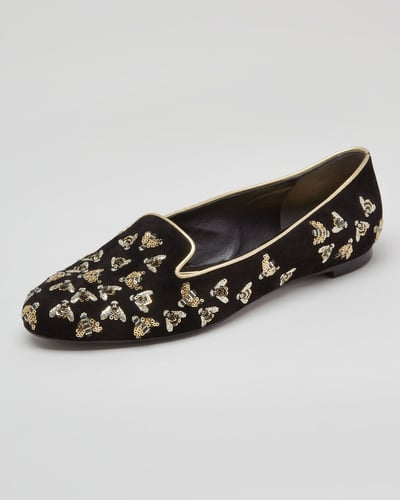 Alexander McQueen Bee-Embroidered Sequined Smoking Slipper, Black