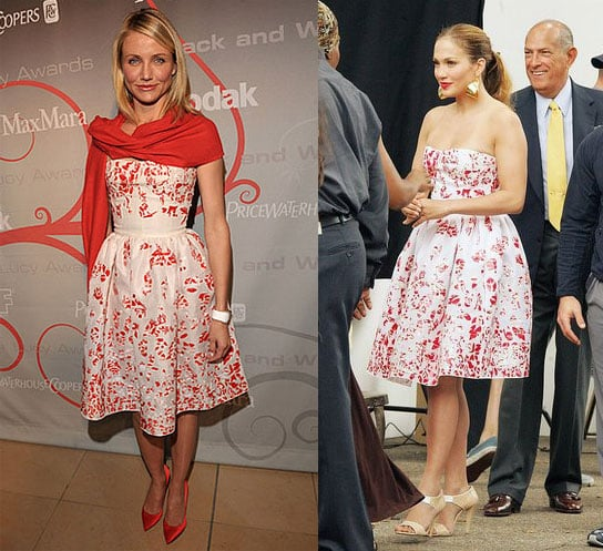 Who Wore It Better? Strapless Floral Oscar de la Renta Dress