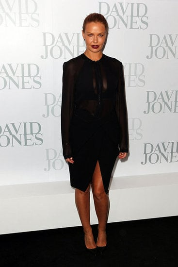 Lara Bingle looked uber-sexy and sophisticated in Dion Lee on the black carpet at David Jones. A dark, high-necked dress, paired with dark lips, is a tough look to pull off but we reckon she nailed it!