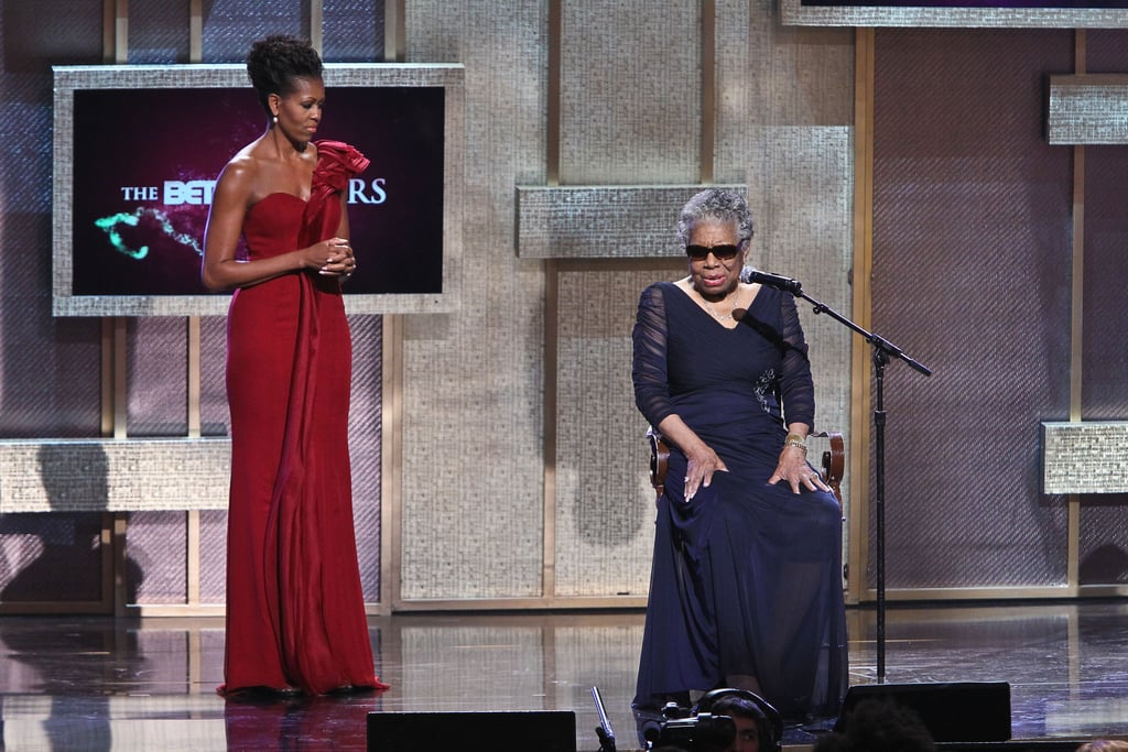 Michelle wore a gorgeous scarlet organza one-shoulder creation by J. Mendel for the 2012 BET Honors held in Washington DC.